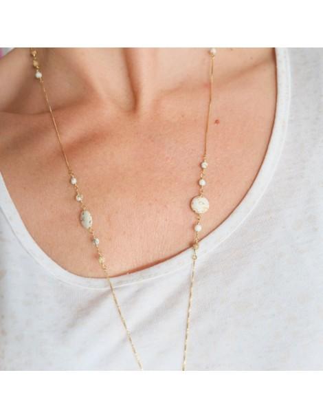 Boucle d'oreille métal noir et argenté perles colorées