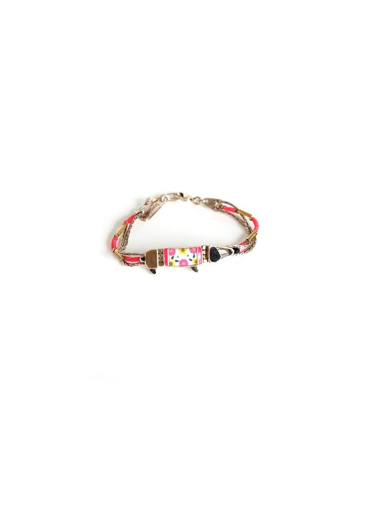 Bracelet en fourrure véritable brune en chinchilla