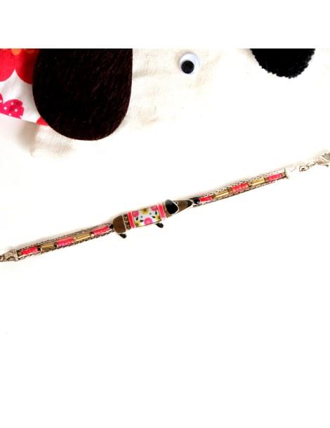 Bracelet multi fils fushia