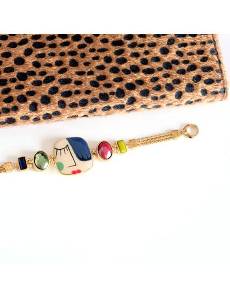 Bracelet doré et brun multi fils