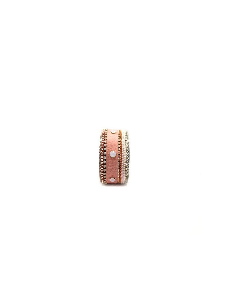 Bracelet large en cuir rose