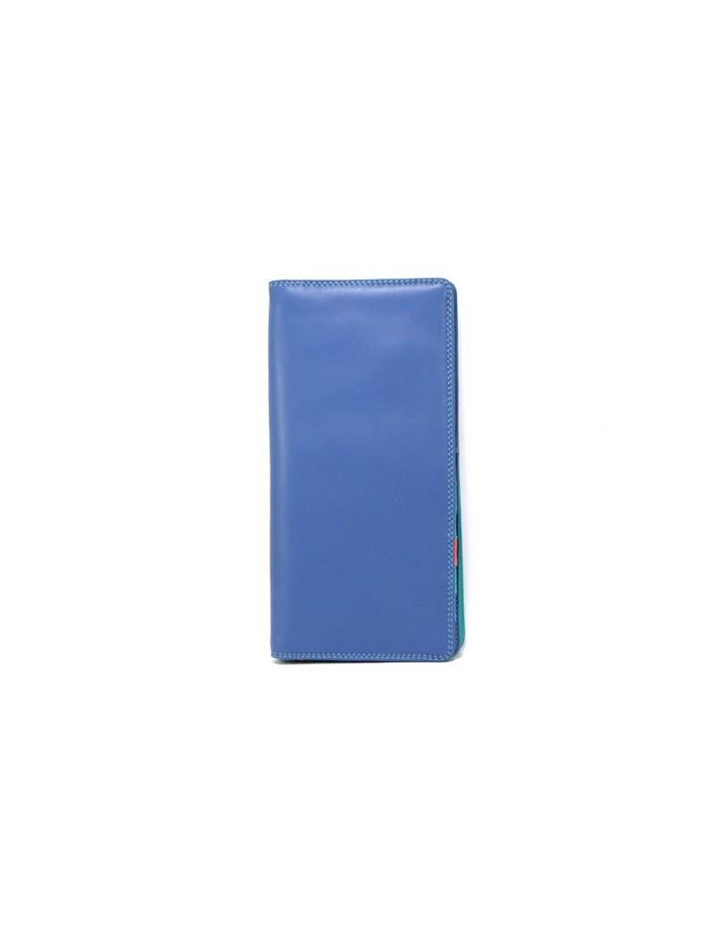 Portefeuille bleu en cuir