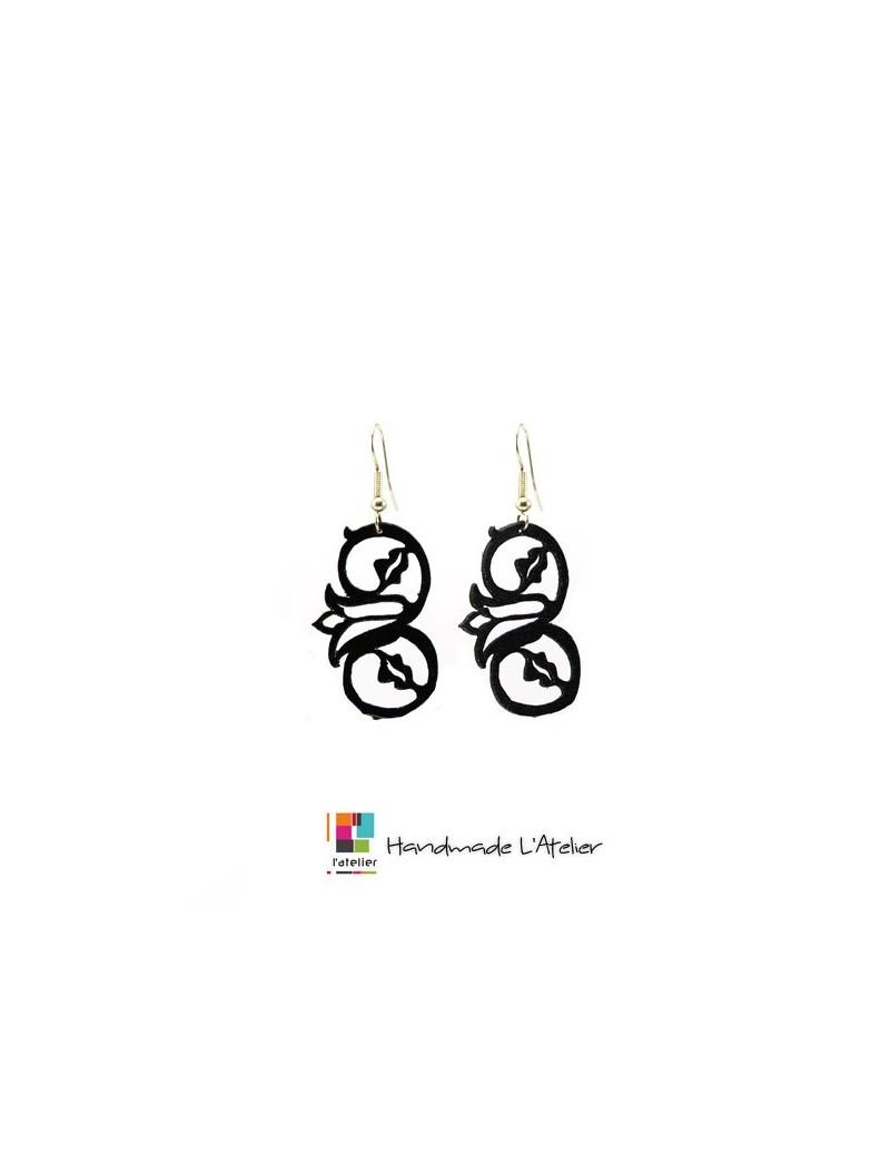 Boucles d'oreille en cuir noir