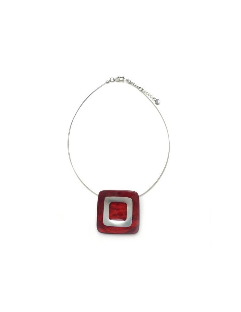 Collier carré en nacre rouge