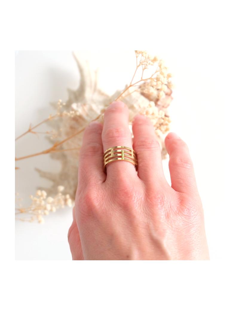 Bracelet doublé de cuir avec tissu multicolore et perles rose