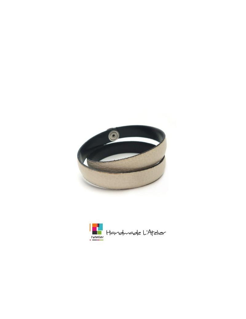 Bracelet double en cuir coloré