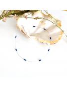 Collier avec ronds en nacre et résine coloré et fleurs de métal argenté