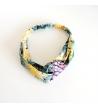 Collier coloré pendentif rectangle en nacre colorée et résine