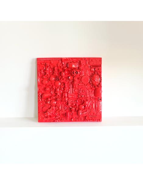 Collier feuilles rouge et bordeaux en résine et métal argenté