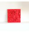 Collier feuille rouge et bordeaux en résine et métal argenté