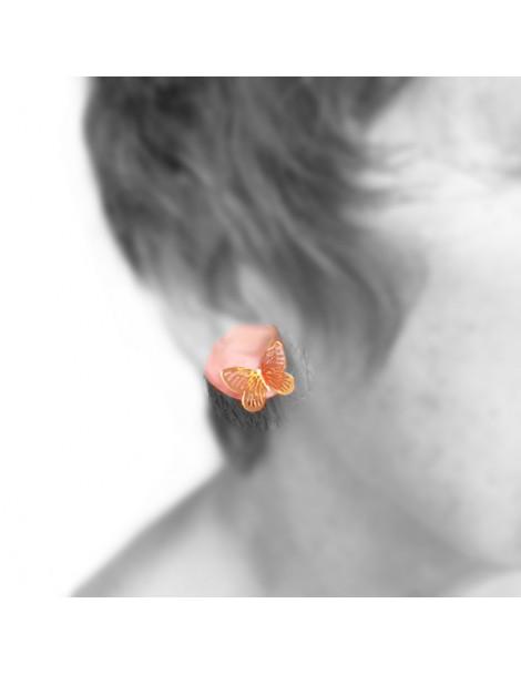 Boucles d'oreilles perle en céramique peinte à la main